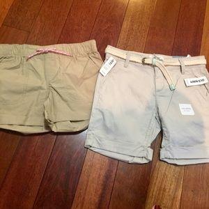 2 old navy khaki shorts girl size 10 NEW